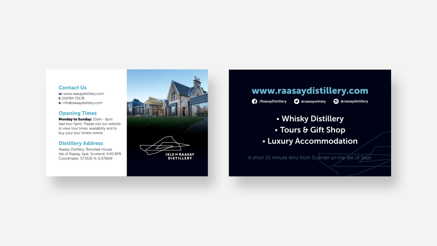 zinc designs - raasay distillery business cards