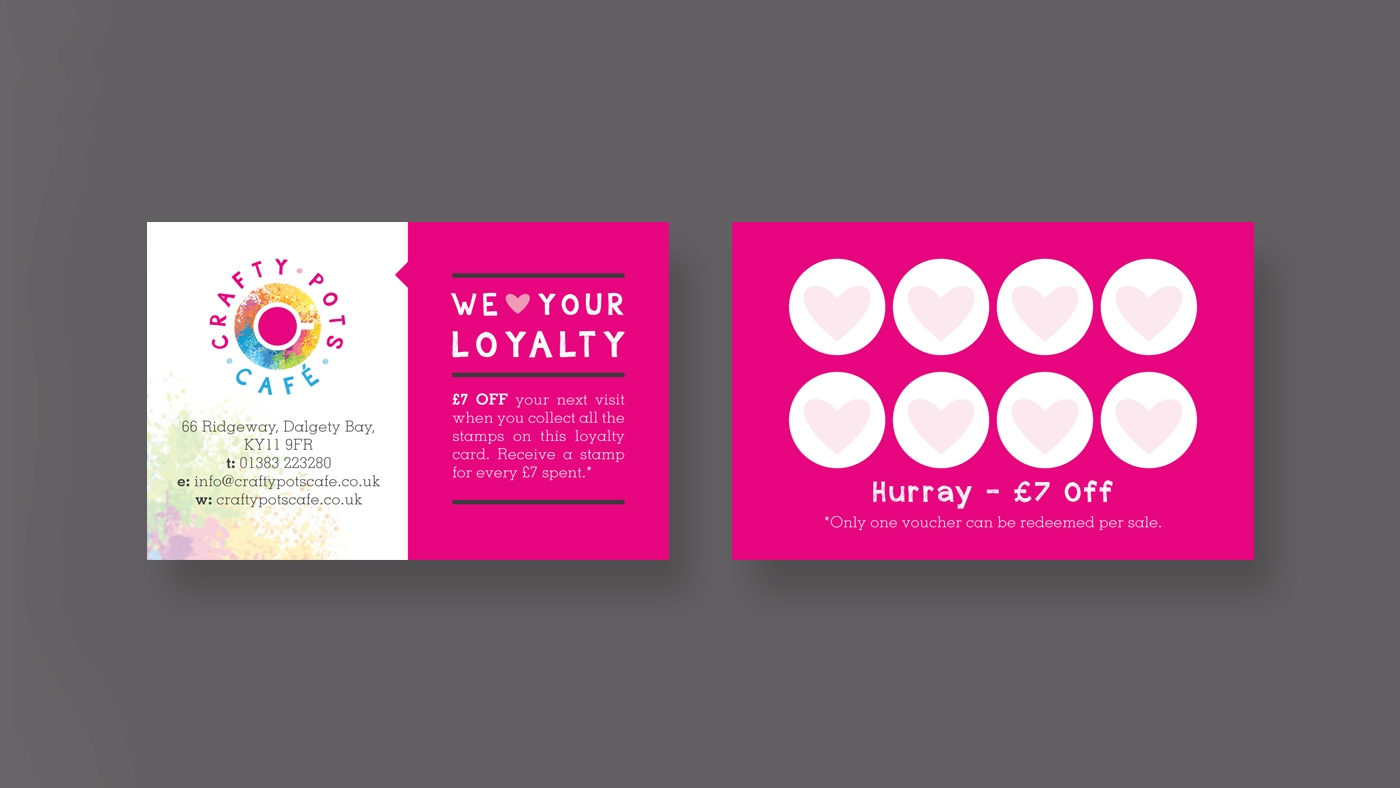 zinc designs - crafty pots business card